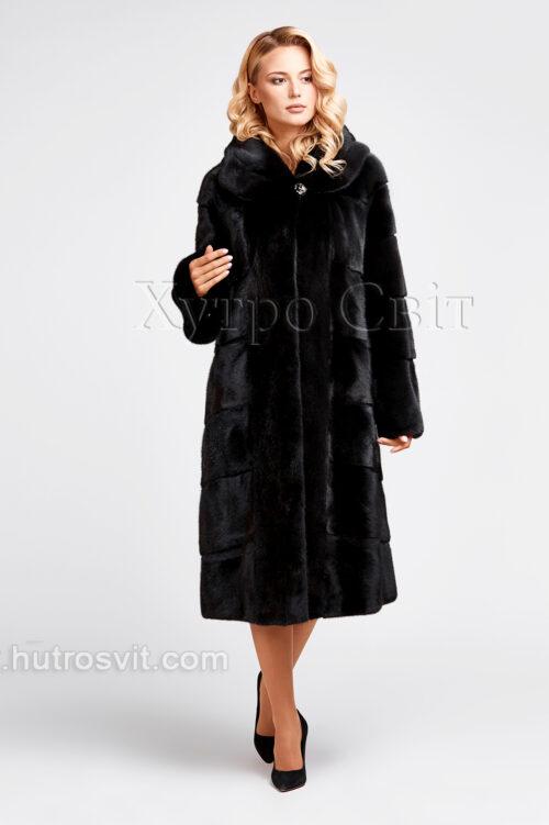 продукция производителя  ХутроСвіт Тисмениця 2021 Норковая шуба черного цвета, капюшон, пошив поперечкой или елочкой, фото 2