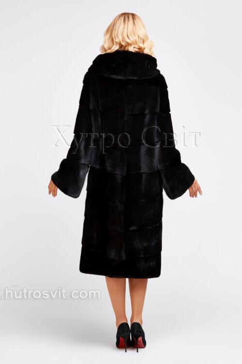 продукция производителя  ХутроСвіт Тисмениця 2021 Норковая шуба черного цвета, капюшон, пошив поперечкой или елочкой, фото 3