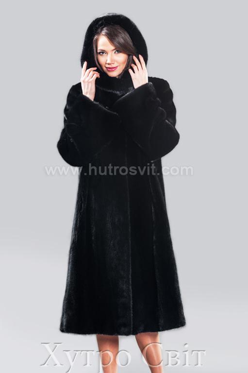 Норкова шуба з капюшоном, класика трапеція, скандинавська норка, Фото 1