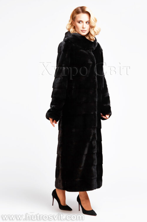 продукция производителя  ХутроСвіт Тисмениця 2021 Длинная норковая шуба поперечного кроя с капюшоном, фото 1