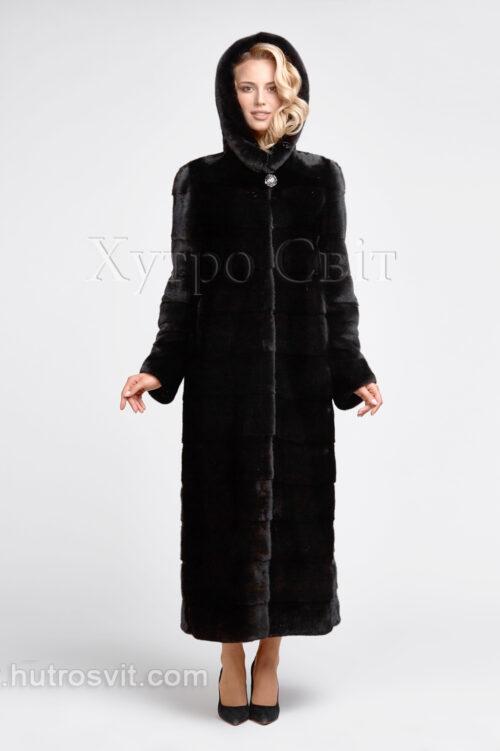 продукция производителя  ХутроСвіт Тисмениця 2021 Длинная норковая шуба поперечного кроя с капюшоном, фото 3
