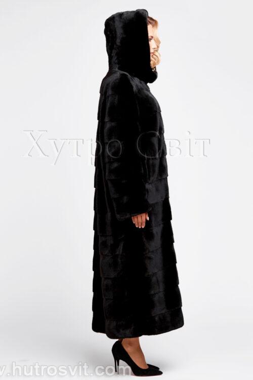 продукция производителя  ХутроСвіт Тисмениця 2021 Длинная норковая шуба поперечного кроя с капюшоном, фото 4