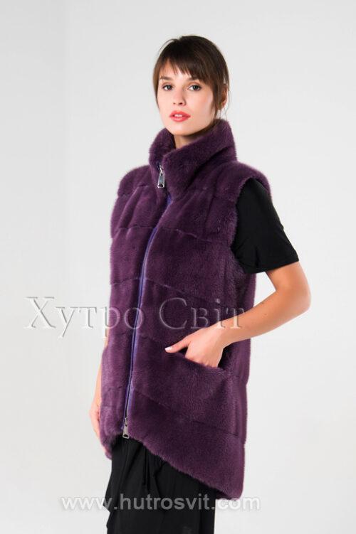 Норкові жилетки від ХутроСвіт Тисмениця.Модель фіолетового кольору., фото 2