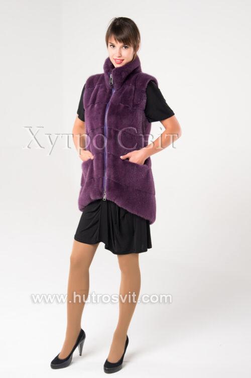 Норкові жилетки від ХутроСвіт Тисмениця.Модель фіолетового кольору., фото 3