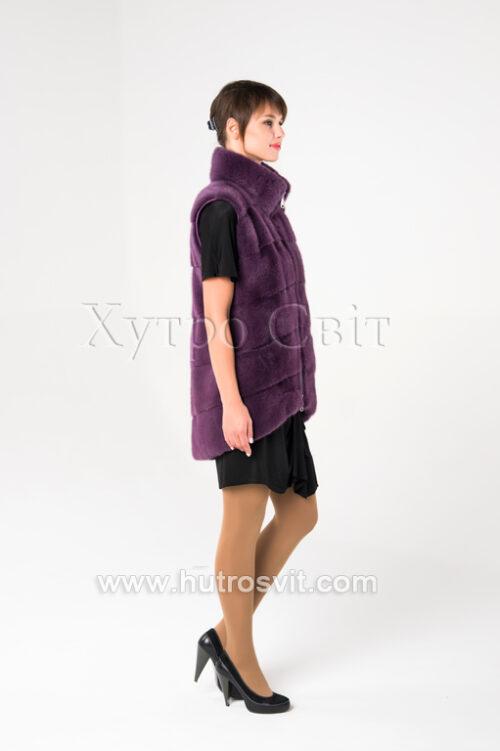 Норкові жилетки від ХутроСвіт Тисмениця.Модель фіолетового кольору., фото 5