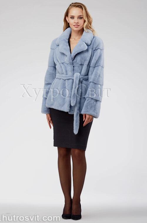 продукція виробника ХутроСвіт Тисмениця 2020 Голуба норкова курточка з поясом та англійським коміром, фото 1