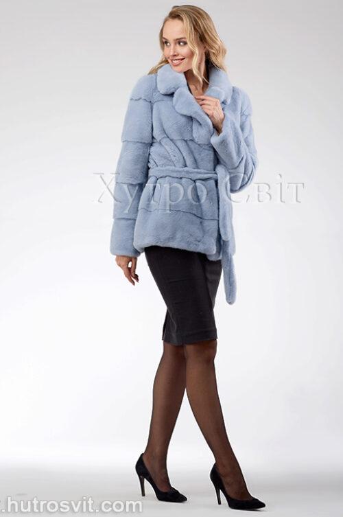 продукція виробника ХутроСвіт Тисмениця 2020 Голуба норкова курточка з поясом та англійським коміром, фото 2