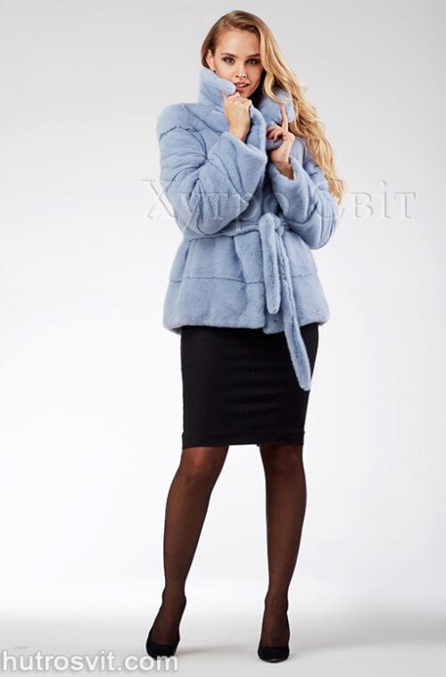 продукція виробника ХутроСвіт Тисмениця 2020 Голуба норкова курточка з поясом та англійським коміром, фото 3