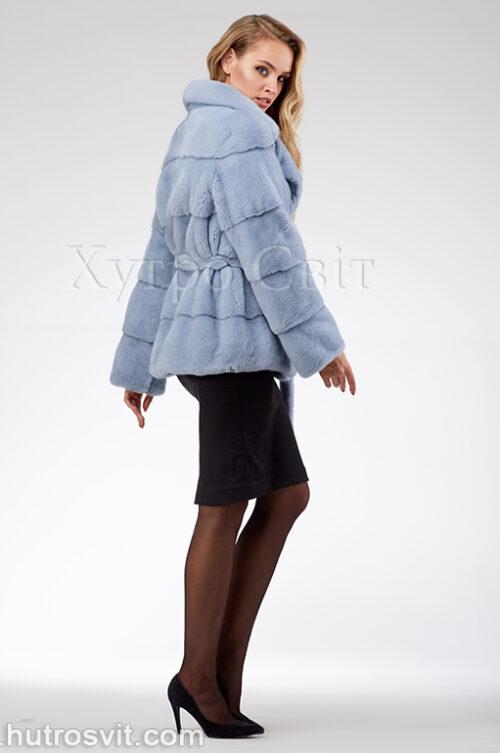 продукція виробника ХутроСвіт Тисмениця 2020 Голуба норкова курточка з поясом та англійським коміром, фото 4