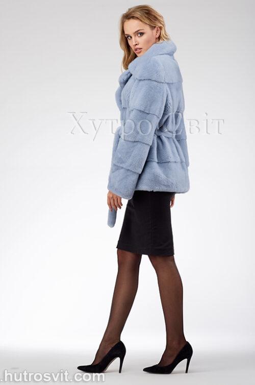 продукція виробника ХутроСвіт Тисмениця 2020 Голуба норкова курточка з поясом та англійським коміром, фото 5