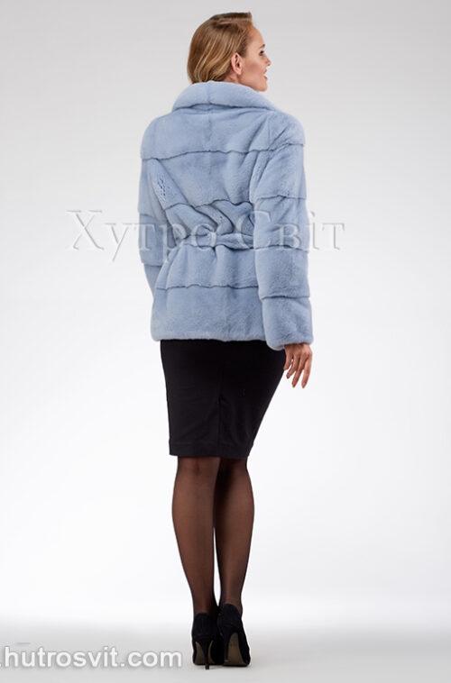 продукція виробника ХутроСвіт Тисмениця 2020 Голуба норкова курточка з поясом та англійським коміром, фото 6