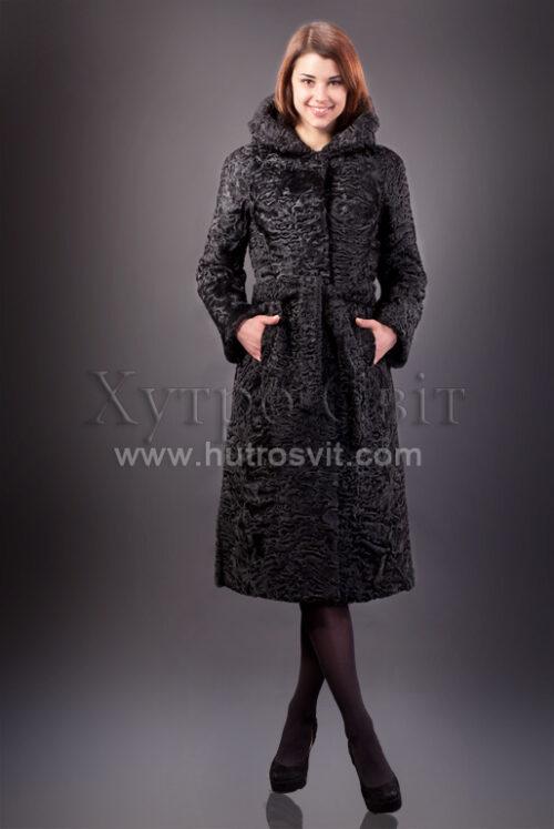 Шуба із каракулю, модель пальто з капюшоном, фото 1