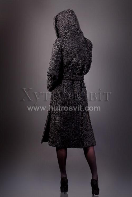 Шуба із каракулю, модель пальто з капюшоном, фото 2