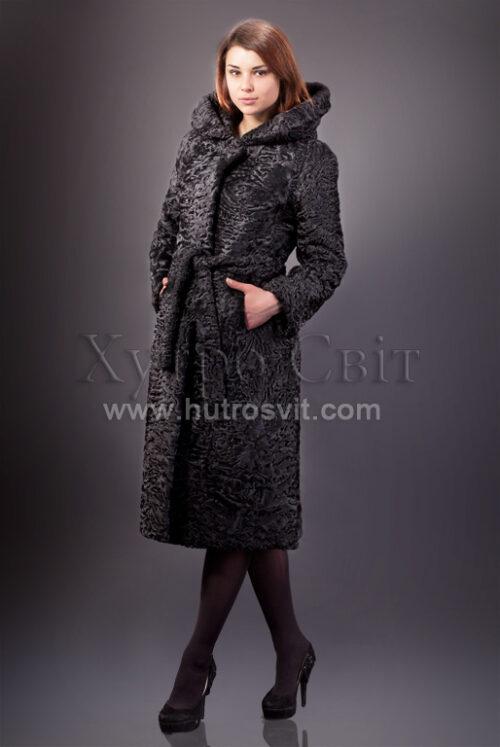 Шуба із каракулю, модель пальто з капюшоном, фото 3