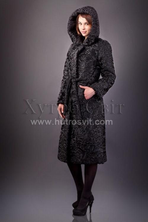 Караклевые шубы Тисменица, фото и цены. Шуба-пальто каракуль с элегантным капюшоном, фото 4