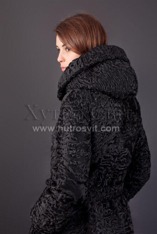 Шуба із каракулю, модель пальто з капюшоном, фото 5