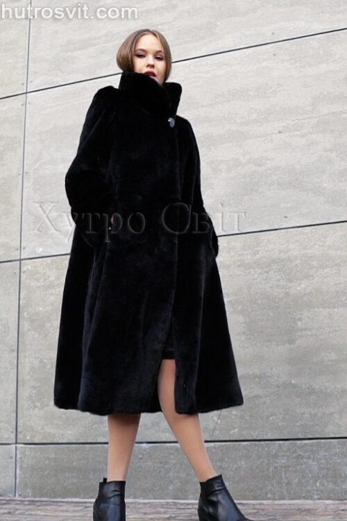 Классическая черная норковая шуба трапеция со стойкой, фото 2