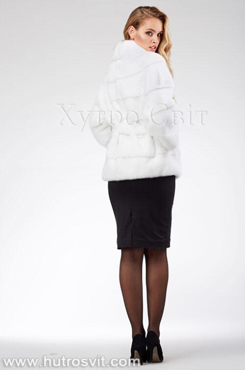 продукція виробника ХутроСвіт Тисмениця 2021 Біла норкова шуба поперечка з англійським коміром та поясом, фото 5