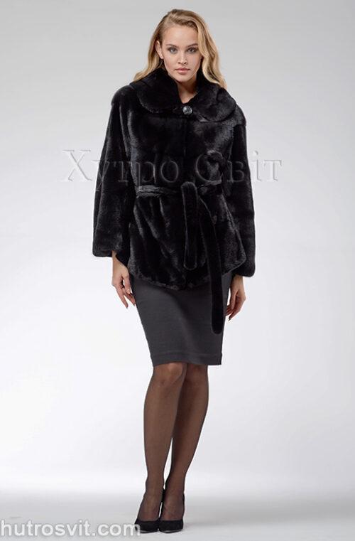 продукція виробника ХутроСвіт Тисмениця 2021 Норкова шуба – модель курточка з капюшоном, чорного кольору, фото 2