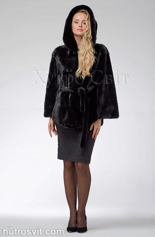 продукція виробника ХутроСвіт Тисмениця 2021 Норкова шуба – модель курточка з капюшоном, чорного кольору, фото 3