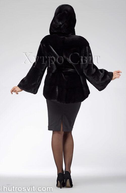 продукція виробника ХутроСвіт Тисмениця 2021 Норкова шуба – модель курточка з капюшоном, чорного кольору, фото 4