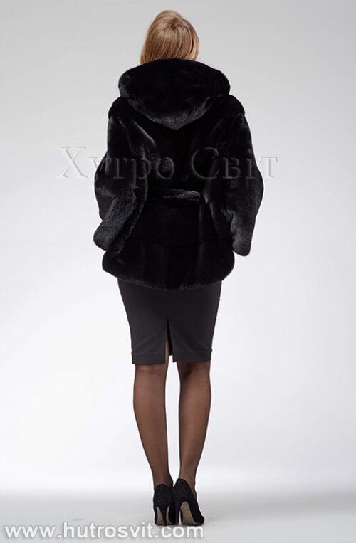 продукція виробника ХутроСвіт Тисмениця 2021 Норкова шуба – модель курточка з капюшоном, чорного кольору, фото 5