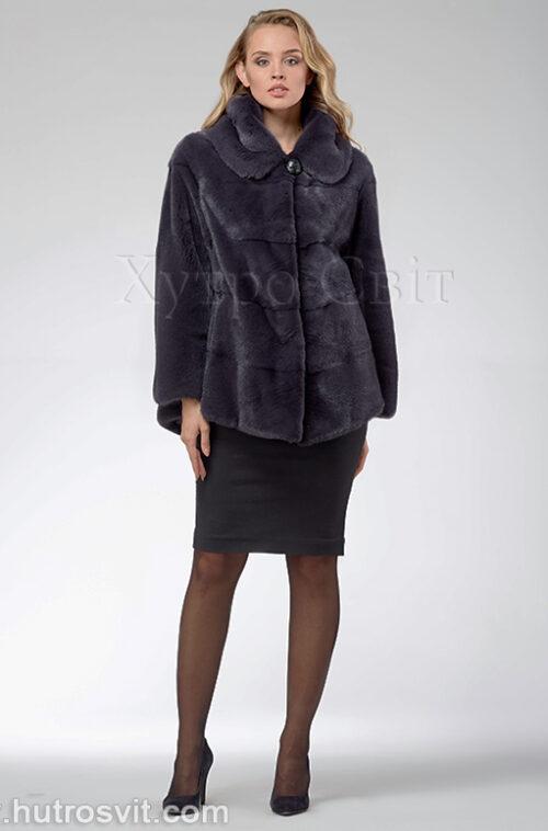 продукция производителя  ХутроСвіт Тисмениця 2020 Норковая шуба – модель курточка с капюшоном, цвет графит, фото 1