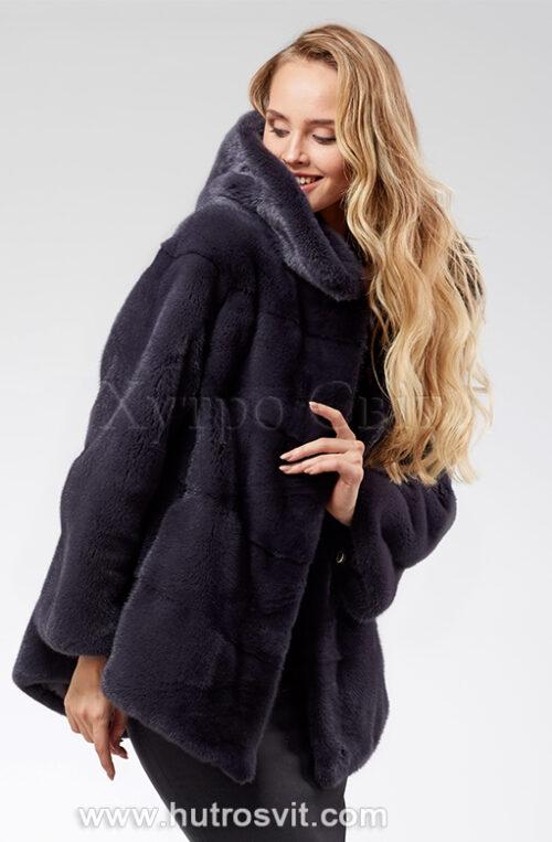 продукция производителя  ХутроСвіт Тисмениця 2021 Норковая шуба – модель курточка с капюшоном, цвет графит, фото 2