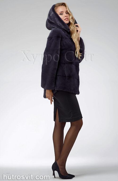 продукция производителя  ХутроСвіт Тисмениця 2020 Норковая шуба – модель курточка с капюшоном, цвет графит, фото 3
