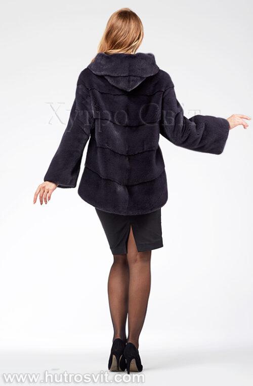 продукция производителя  ХутроСвіт Тисмениця 2020 Норковая шуба – модель курточка с капюшоном, цвет графит, фото 4
