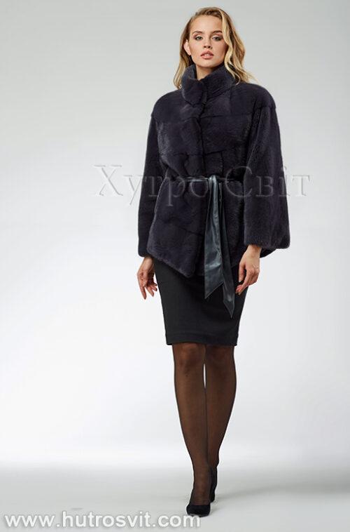 продукция производителя  ХутроСвіт Тисмениця 2021 Норковая шуба – модель курточка с воротником стойка, цвет графит, фото 1