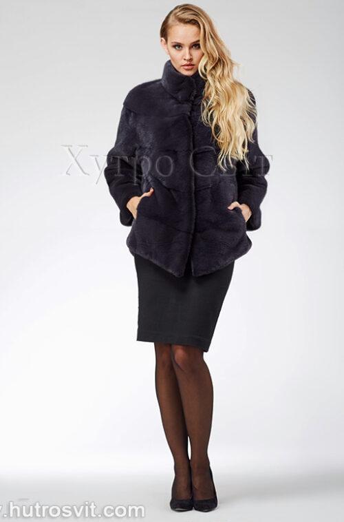 продукція виробника ХутроСвіт Тисмениця 2021 Норкова шуба – модель курточка зі стійкою, колір графіт, фото 2