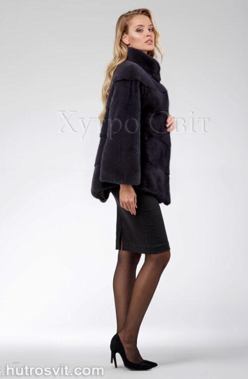 продукция производителя  ХутроСвіт Тисмениця 2021 Норковая шуба – модель курточка с воротником стойка, цвет графит, фото 3