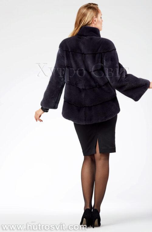 продукция производителя  ХутроСвіт Тисмениця 2021 Норковая шуба – модель курточка с воротником стойка, цвет графит, фото 4