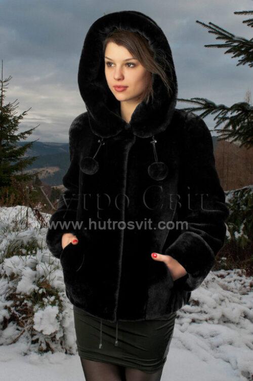 Шуби із мутону, модель курточка куліска з капюшогном,, фото 1