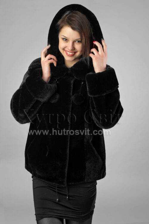 Шуби із мутону, модель курточка куліска з капюшогном,, фото 4