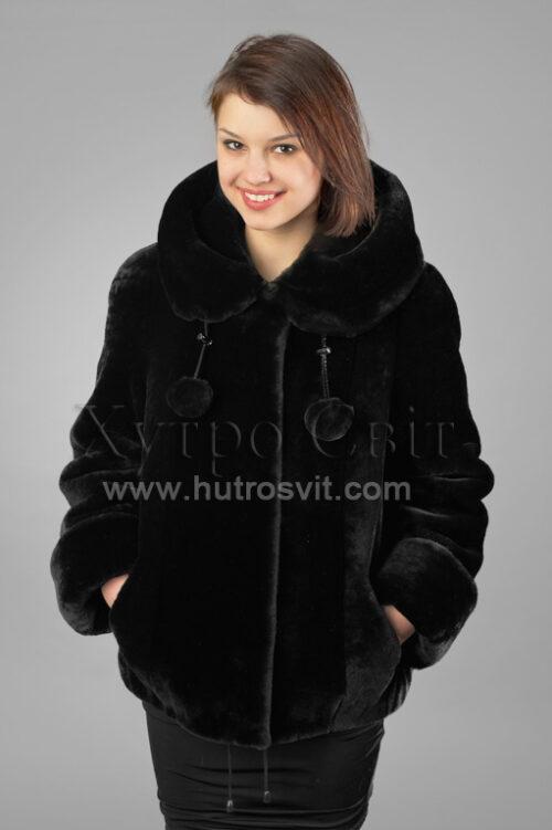 Шуби із мутону, модель курточка куліска з капюшогном,, фото 5