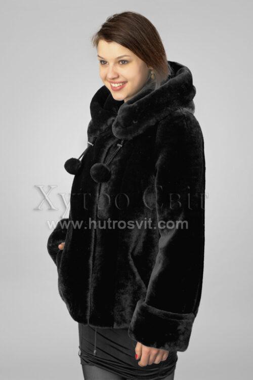 Шуби із мутону, модель курточка куліска з капюшогном,, фото 7