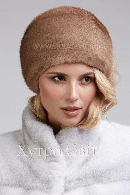 продукція виробника ХутроСвіт Тисмениця 2021 Жіноча шапка із канадської норки пастель, фото 1