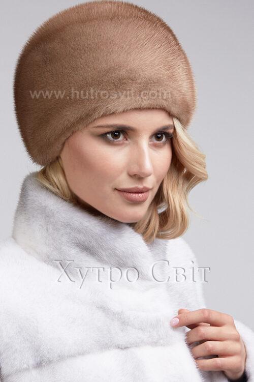 продукція виробника ХутроСвіт Тисмениця 2021 Жіноча шапка із канадської норки пастель, фото 2