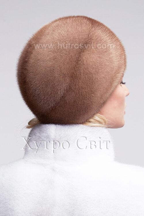 продукція виробника ХутроСвіт Тисмениця 2021 Жіноча шапка із канадської норки пастель, фото 3