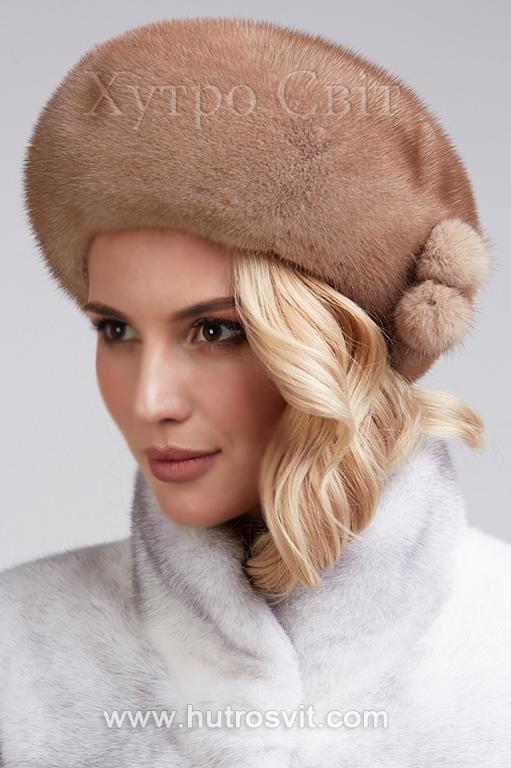 зимові жіночі шапки із хутра - норкові берети