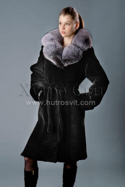 Шуба мутон, модель - пальто с поясом, воротник блуфрост, фото 2