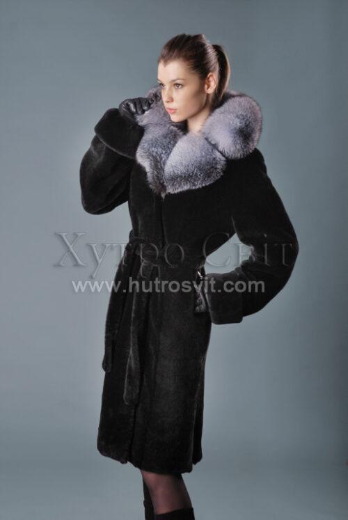 Мутоновые шубы, фасон пальто, пояс, воротник блу фрост, фото 3