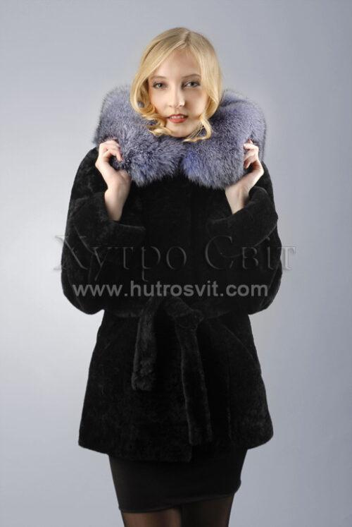 Теплый и красивый полушубок от ХутроСвит, мех - мутон + капюшон Blue Frost,, фото 1