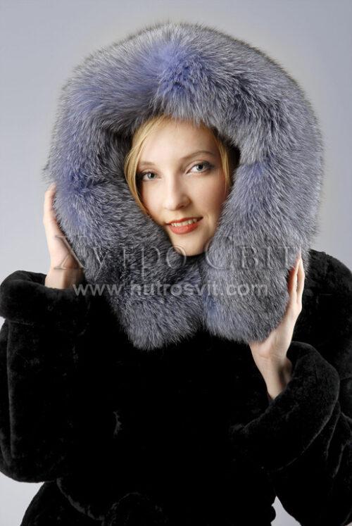 Теплый и красивый полушубок от ХутроСвит, мех - мутон + капюшон Blue Frost,, фото 3