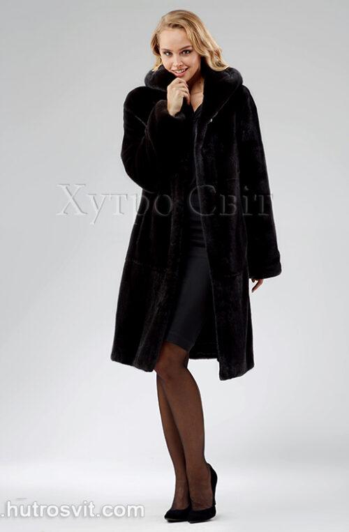 Шуба з капюшоном, канадська норка Блекнафа, модель трапеція,, фото 3