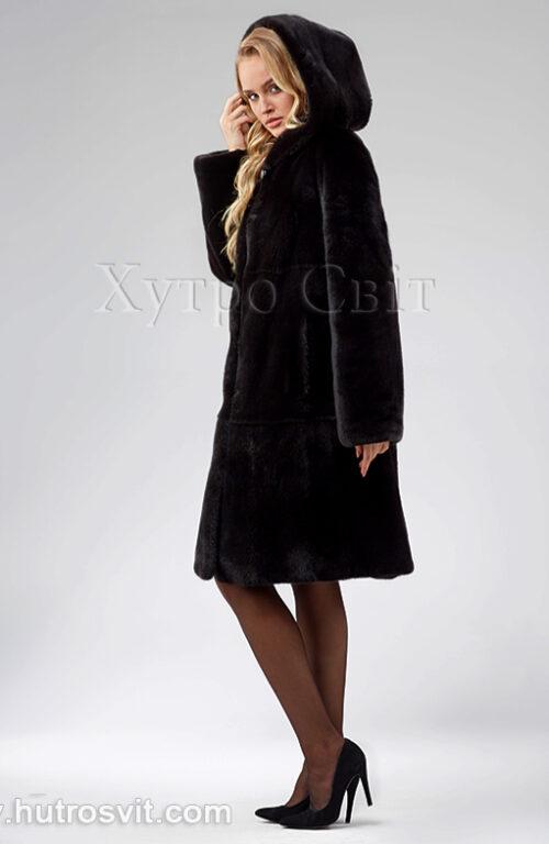 Шуба з капюшоном, канадська норка Блекнафа, модель трапеція,, фото 7