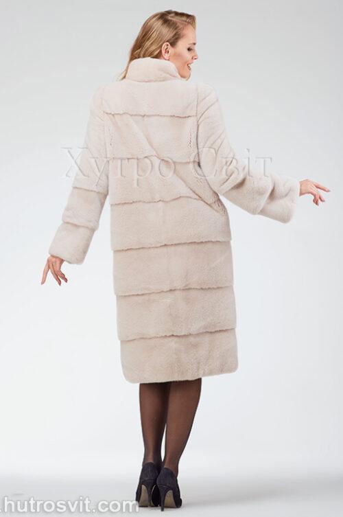 продукция производителя  ХутроСвіт Тисмениця 2020 Норковая шуба поперечка, воротник стойка, цвет пудра, фото 4