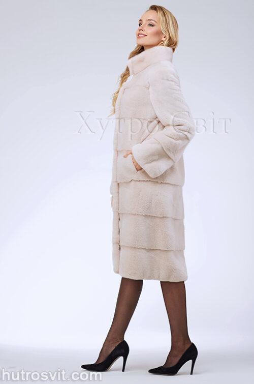 продукция производителя  ХутроСвіт Тисмениця 2020 Норковая шуба поперечка, воротник стойка, цвет пудра, фото 5